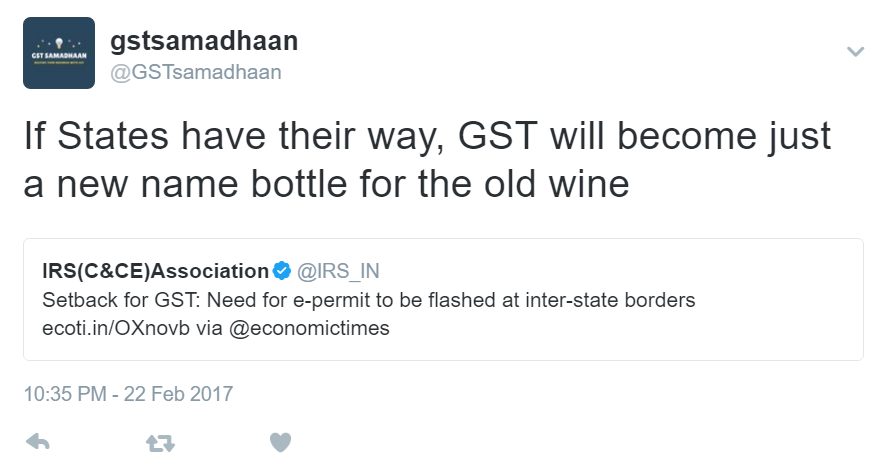 Twitter reactions to e-permit clause in GST